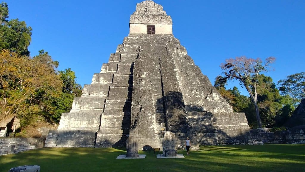 The Great Plaza Tikal in the Evening