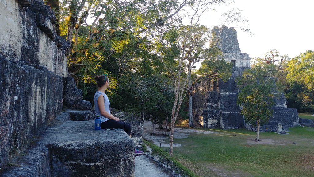 The Great Plaza in Tikal in the Evening