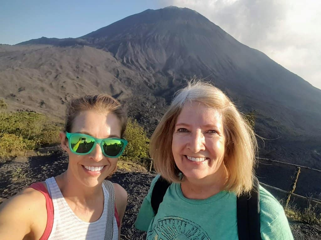 Diane and her mom in front of Pacaya Volcano
