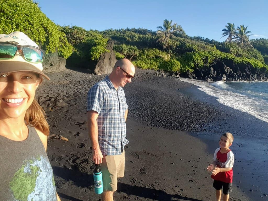 Black sand beach at Wai'anapanapa state park early in the morning