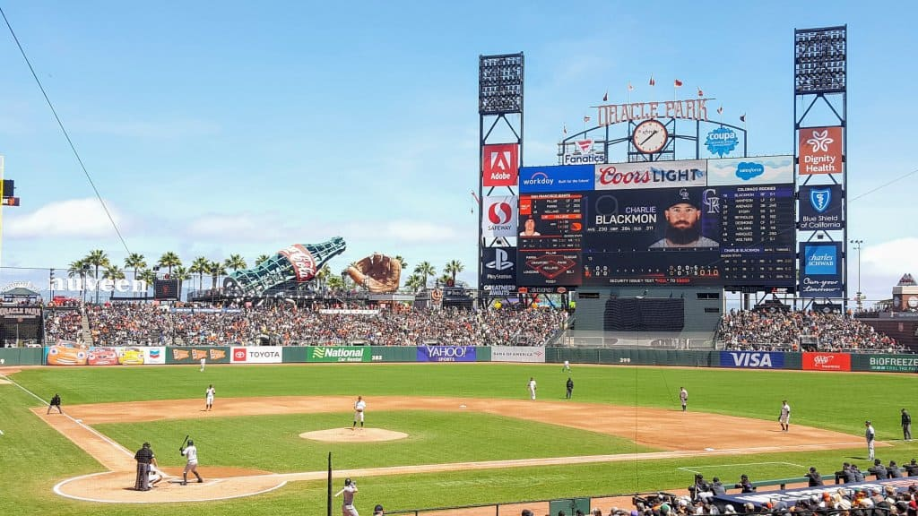View of the baseball field in Oracle Park. Rockies playing the Giants