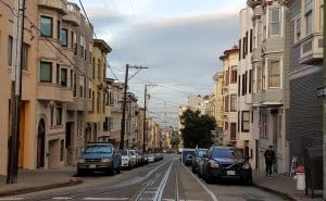 Street view from the cable car in San Francisco