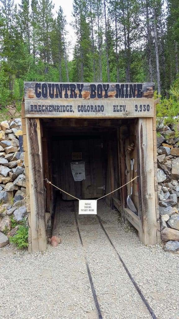 The entrance to the Country Boy Mine in Breckenridge, Colorado. One of the Gold mine tours in Colorado