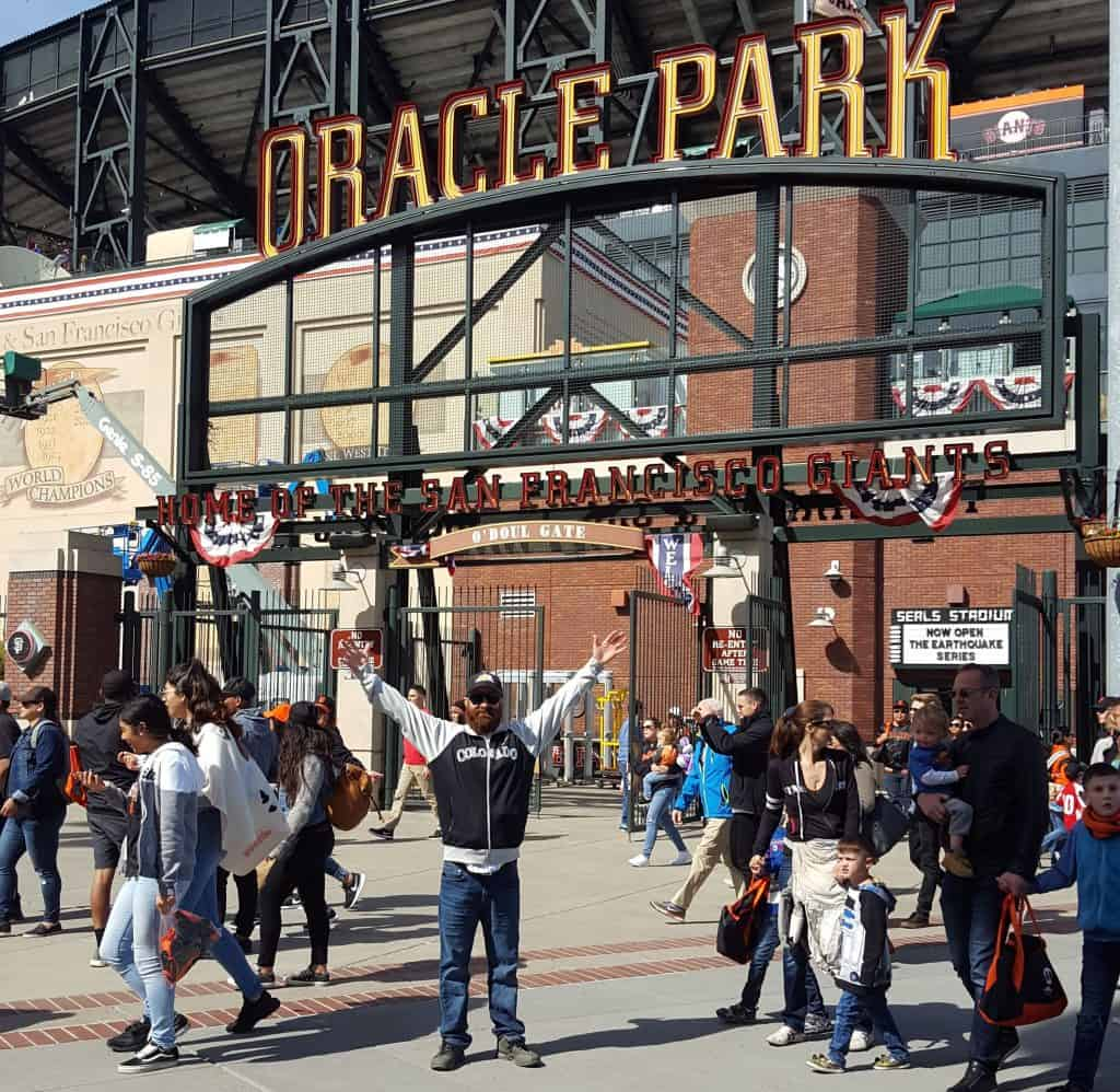 Chad in front of Oracle Park in San Francisco