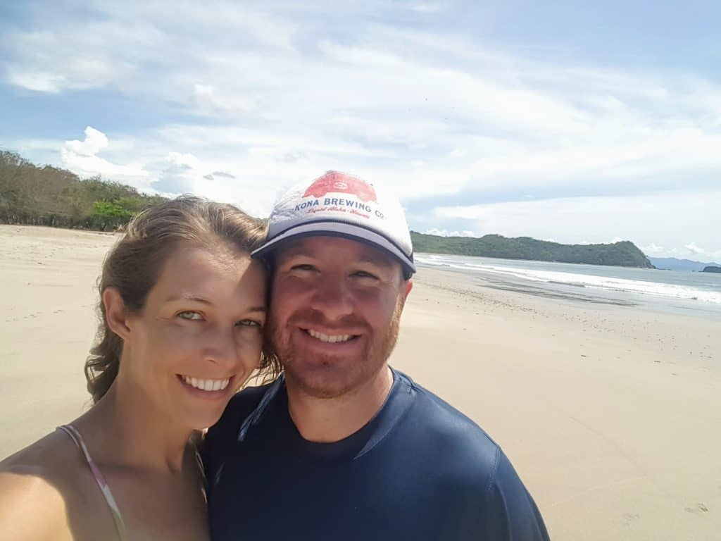 Chad and Diane on Playa La Flor Nature Reserve beach