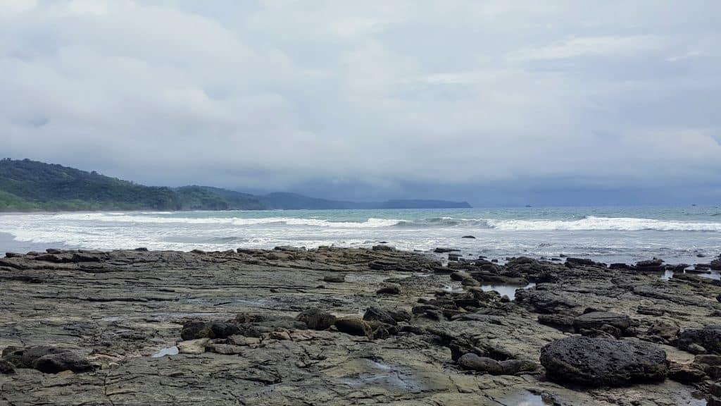 Tide pools near the cliffs at Playa Hermosa Beach in Nicaragua