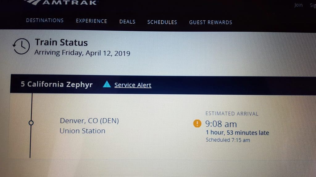 Notification from Amtrak that the train will be late