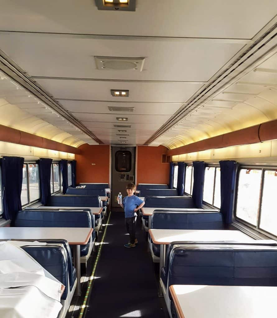 Eli in the dining car of the amtrak superliner