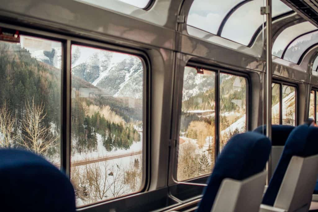 picture of the view car- riding the amtrak train from colorado to california