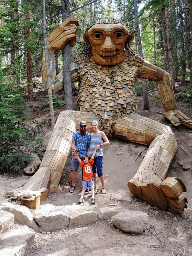 Chad, Diane, and Eli in front of the Breckenridge Troll