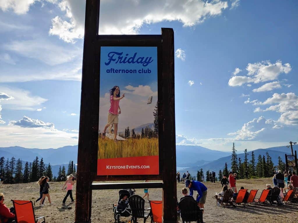 Sign at the top of Keystone Mountain advertising the Friday Afternoon Club