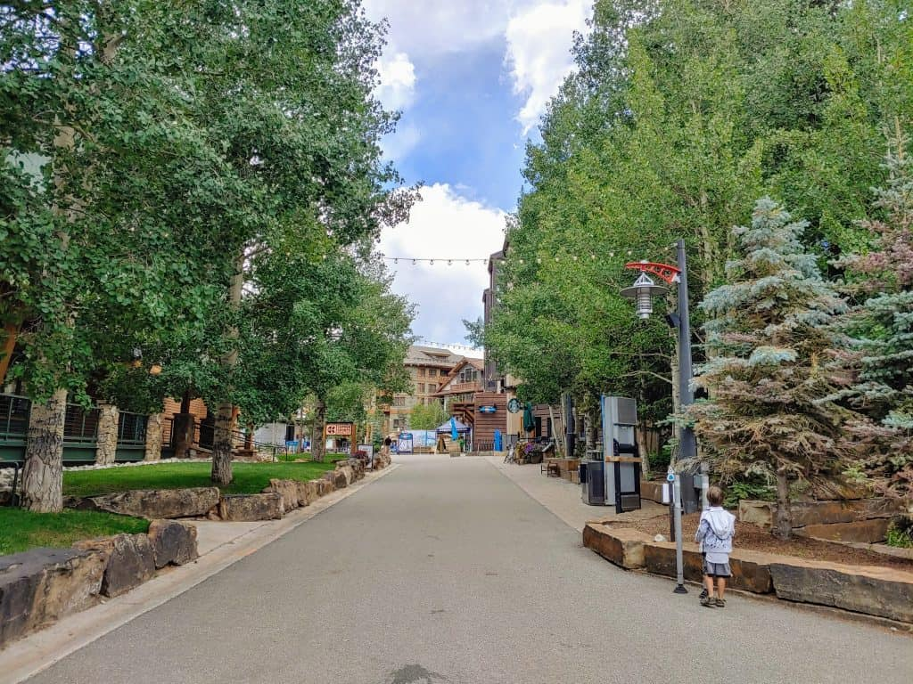 Copper Mountain's Burning stones plaza in the summer time