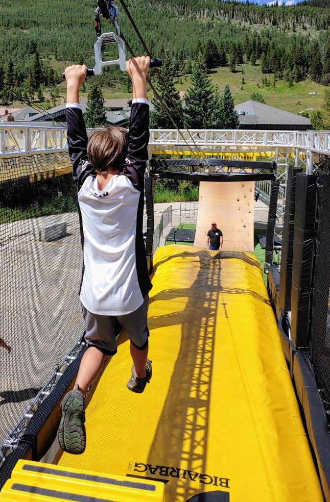 Zip line at the end of the Wrecktangle obstacle course at Copper Mountain in the summer