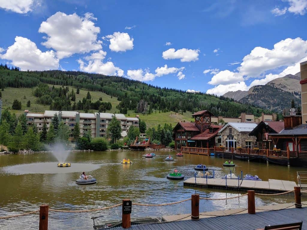 Bumper boats on west lake at Copper Mountain