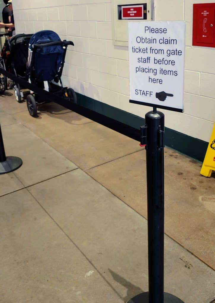 Sign for the stroller check at Coors Field