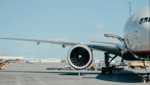 Airplane on the runway at an airport