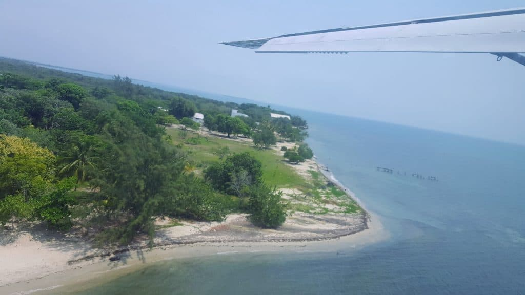 View out a plane window of the beach in Placencia Belize