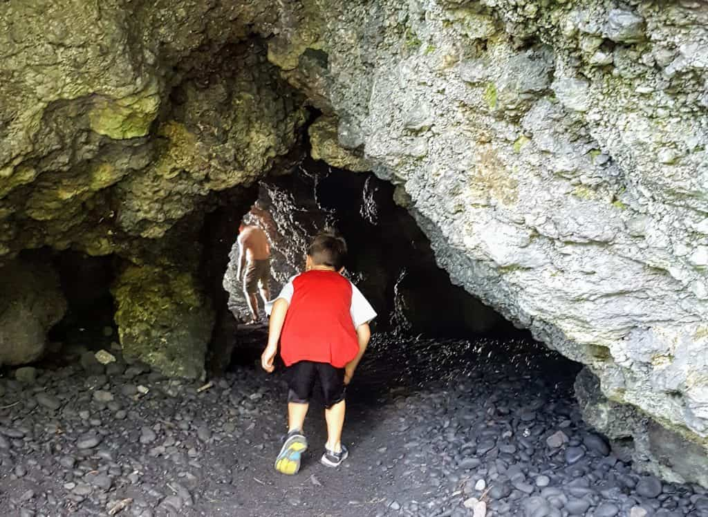 Cave on the black sand beach at Wai'anapanapa State Park