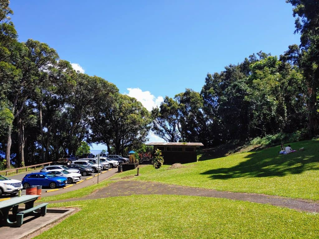 The parking lot and bathrooms of Kaumahina State Wayside, one of the road to Hana stops
