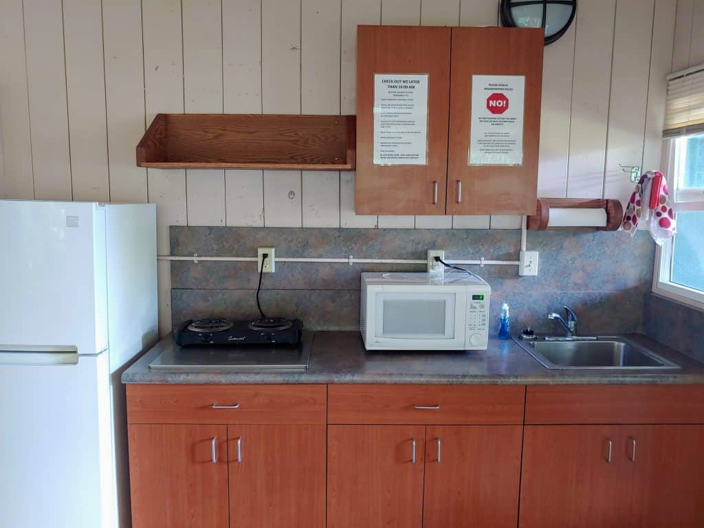 the kitchen in a Wai'anapanapa state park cabin