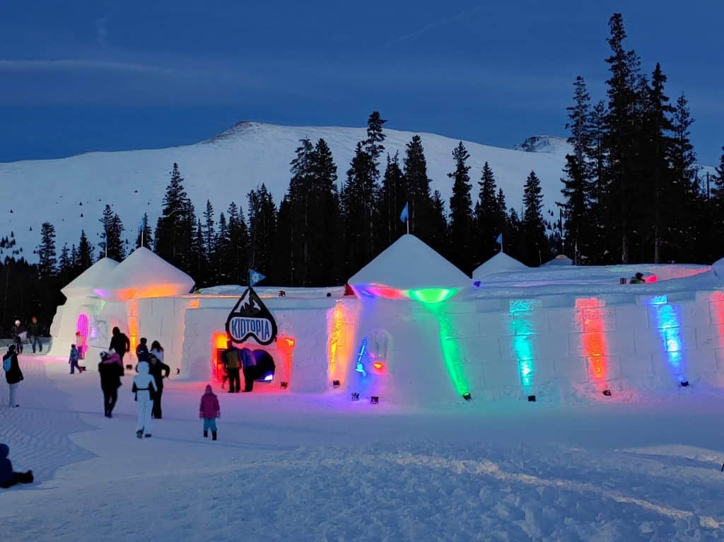 snow fort at the top of Keystone Mountain