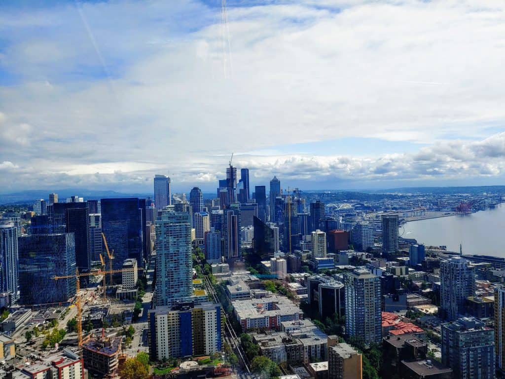 View of the Seattle Skyline from the top of the Space Needle