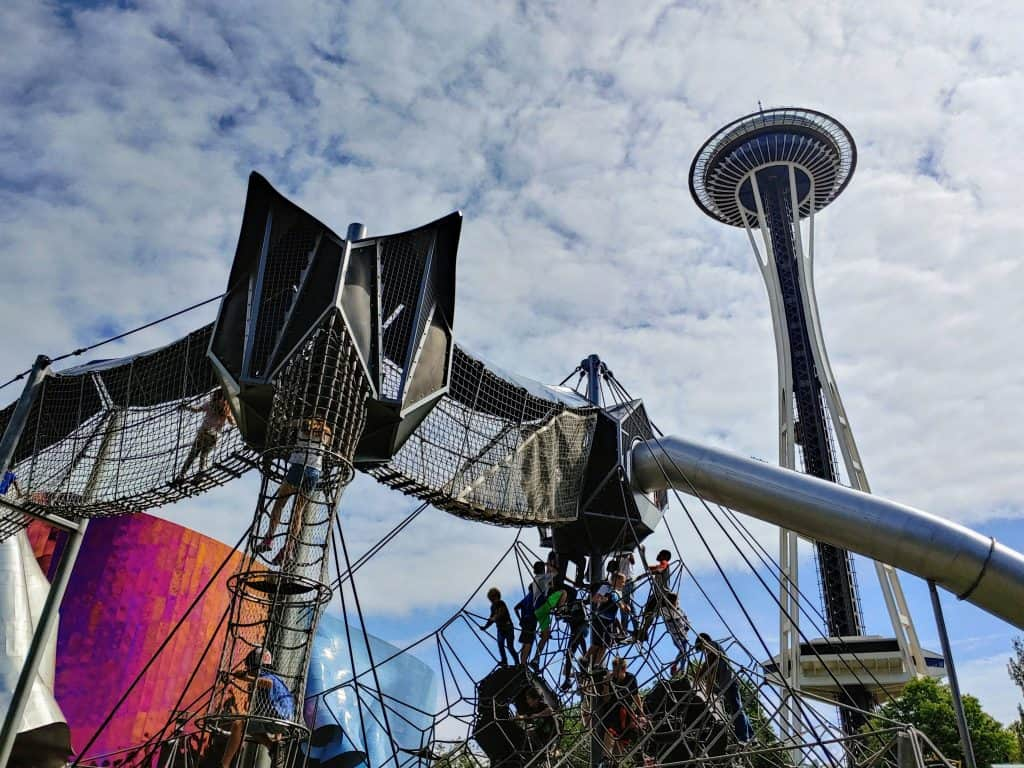 Artist at Play Playground in Seattle, Washington next to the space needle