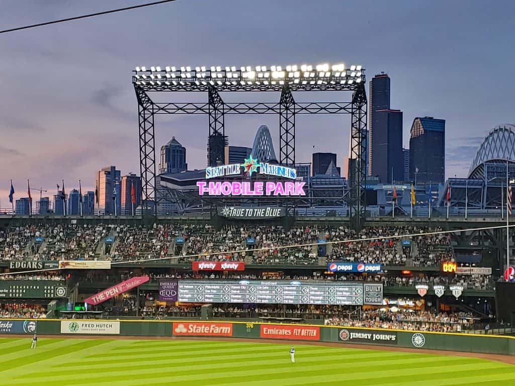 Seattle Mariners baseball stadium with the skyscrapers of Seattle in the background