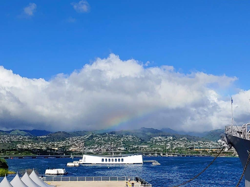 View of the USS Arizona from the deck of the Mighty Mo