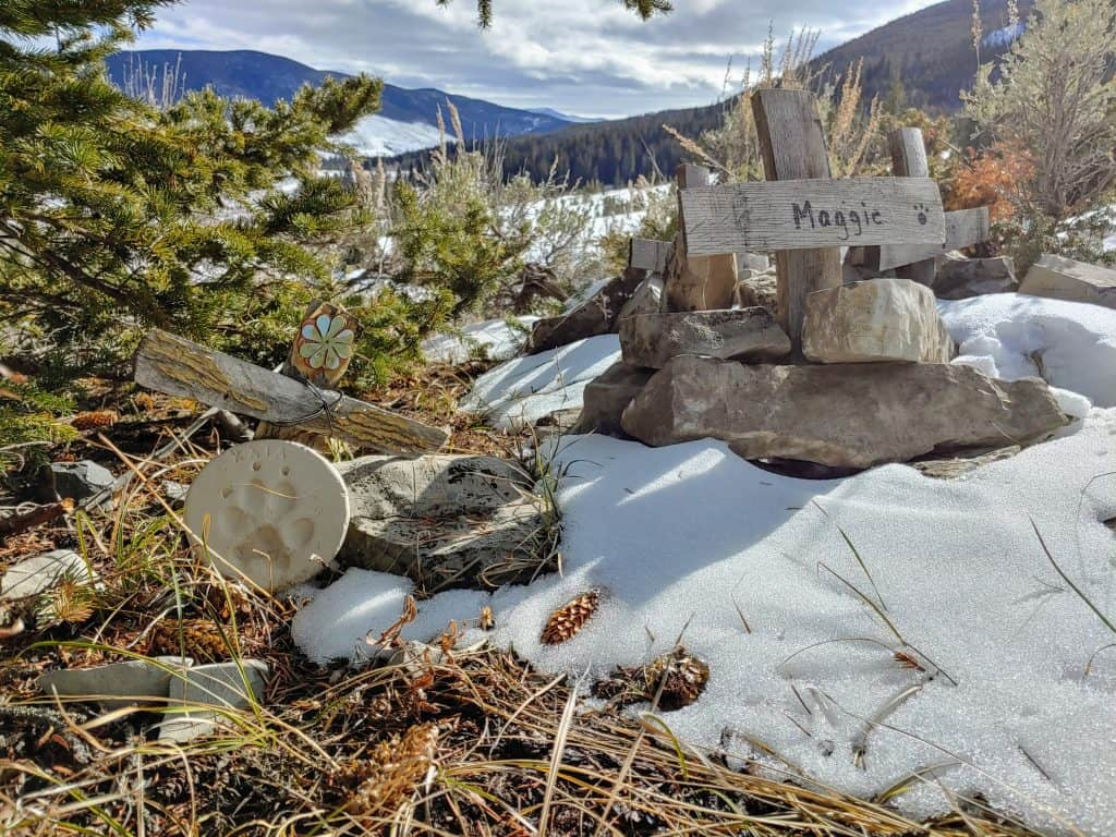 Pet grave markers in the mountains