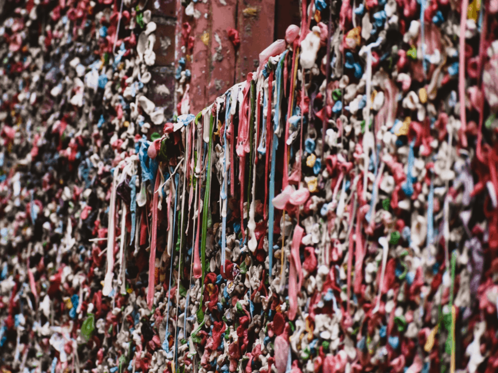 Wall covered with gum in Seattle