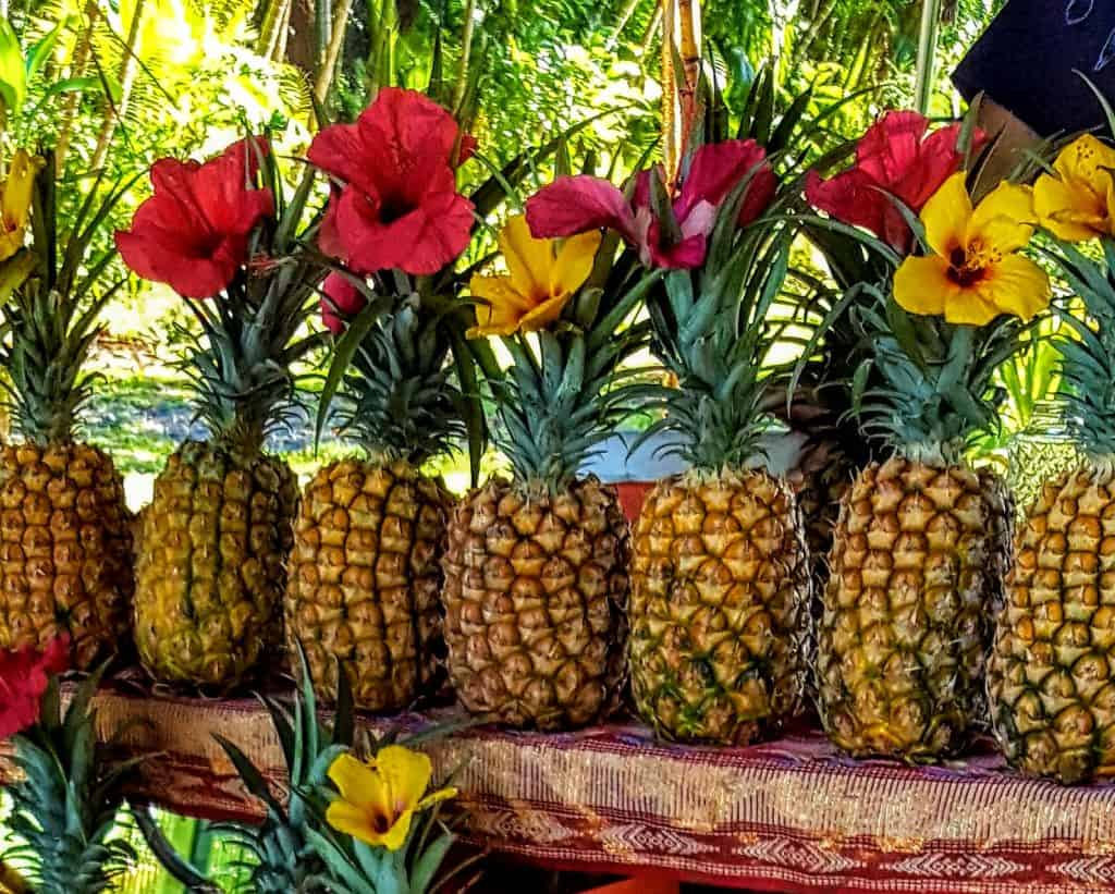 Pineapples lined up at a fruit stand in Hawaii