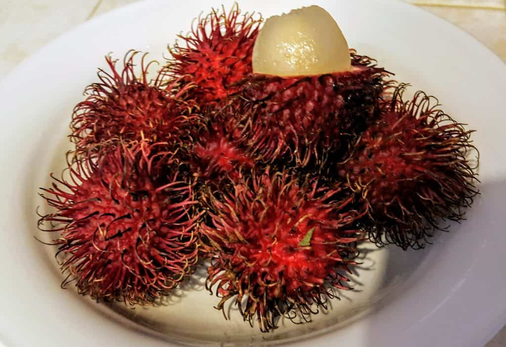 Lychee fruit from Hawaii in a bowl.  One is cut open to show the fruit inside. Fruit in Hawaii