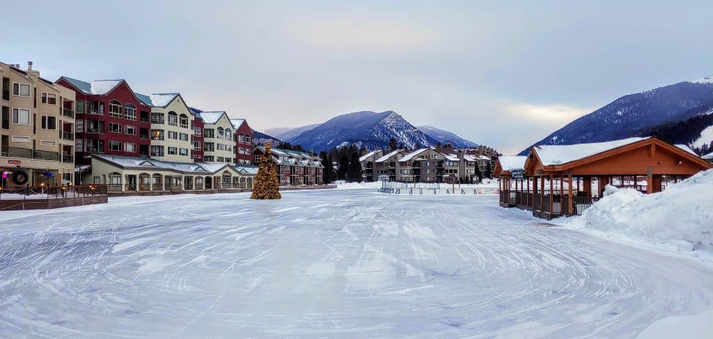 Keystone lake in the winter - all ready for ice skating