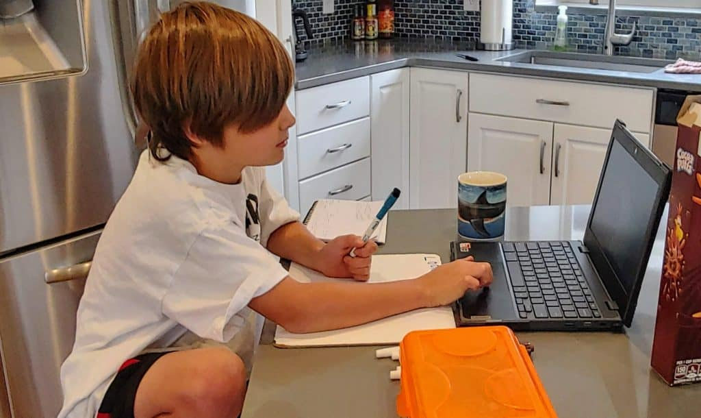 Boy sitting at the counter in the kitchen working on a computer