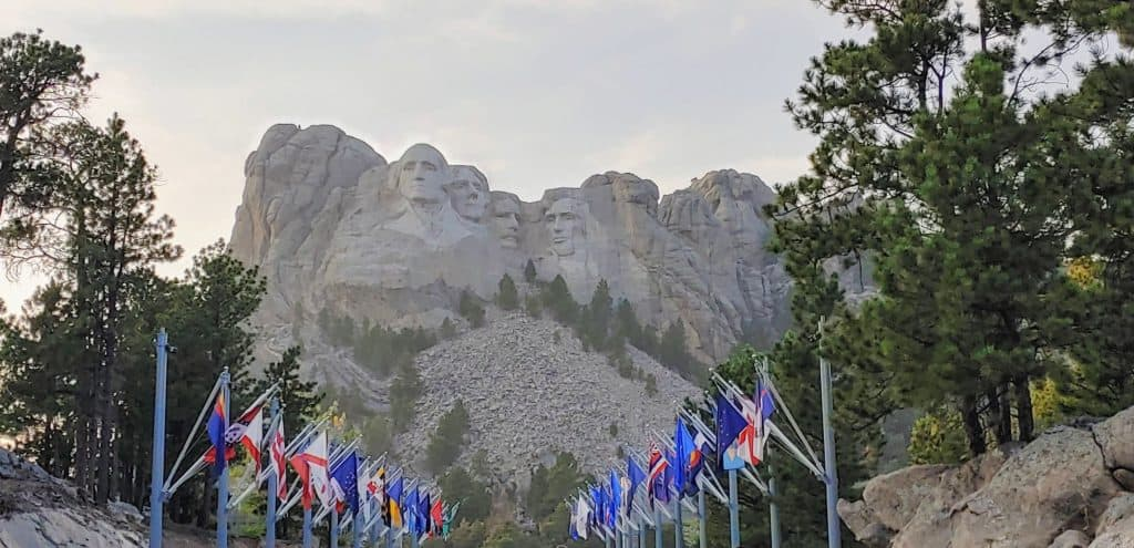 Flags on the path leading to Mount Rushmore