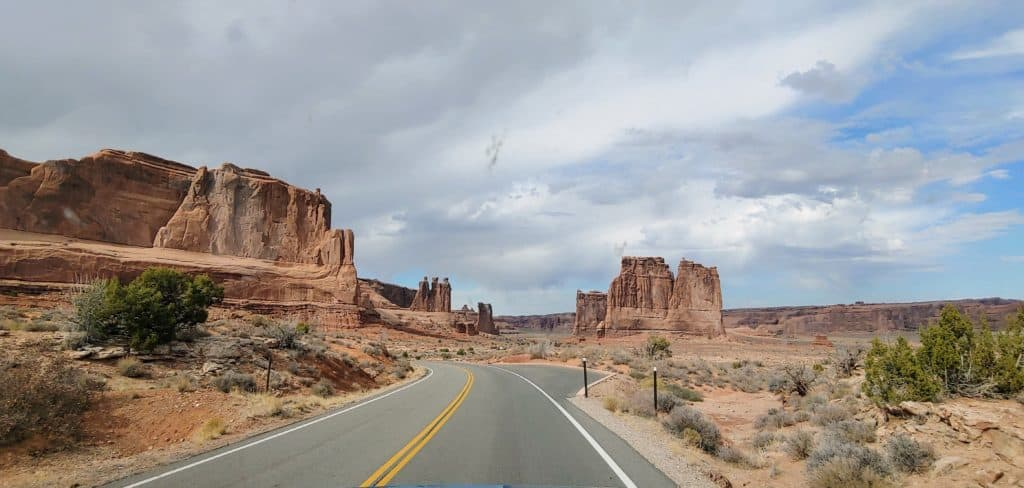 Road into Arches National Park