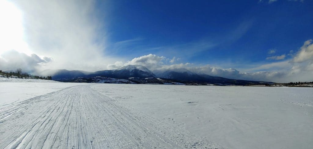 Groomed trail on lake dillon