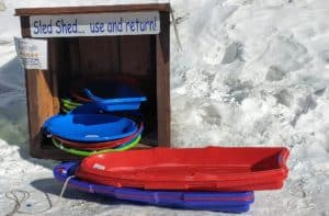 sleds to borrow in a shed