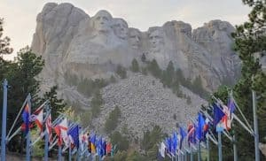 Flags leading to Mount Rushmore