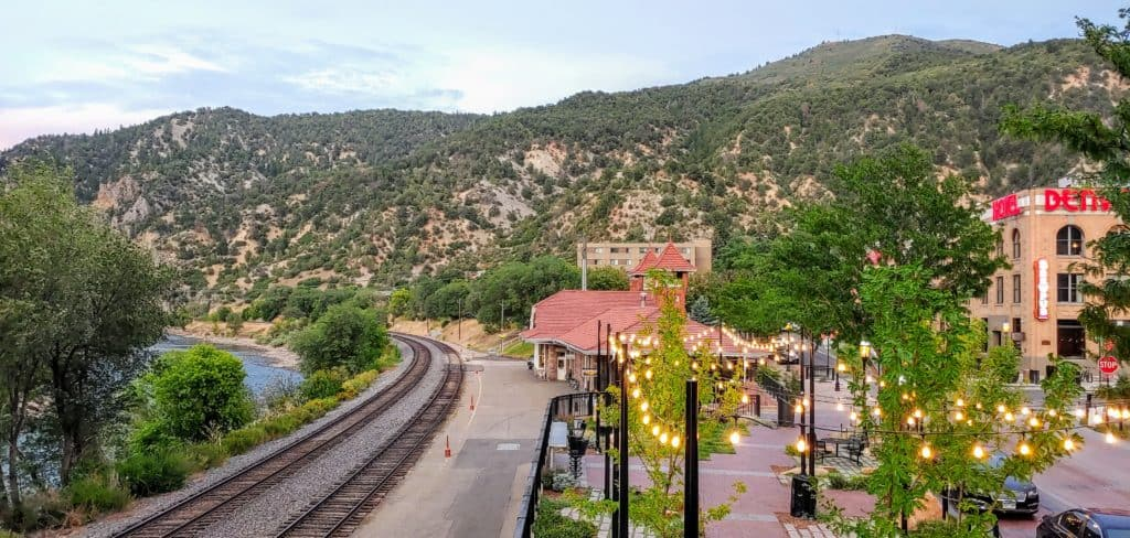 Railroad Tracks and the Amtrak station in Glenwood Springs Colorado