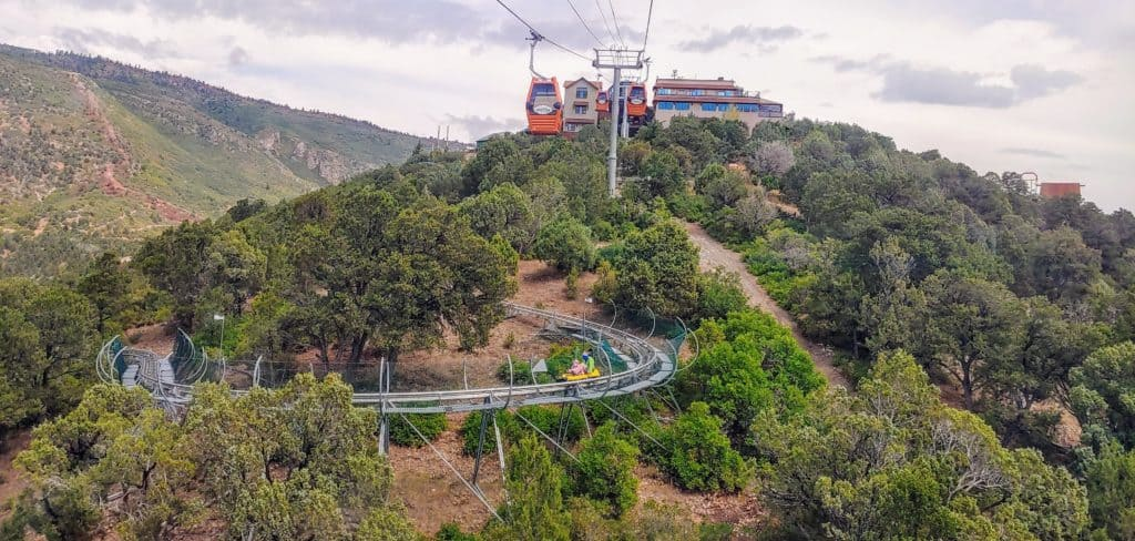 mountain coaster and gondola at Glenwood Adventure Park in Glenwood Springs Colorado in the summer