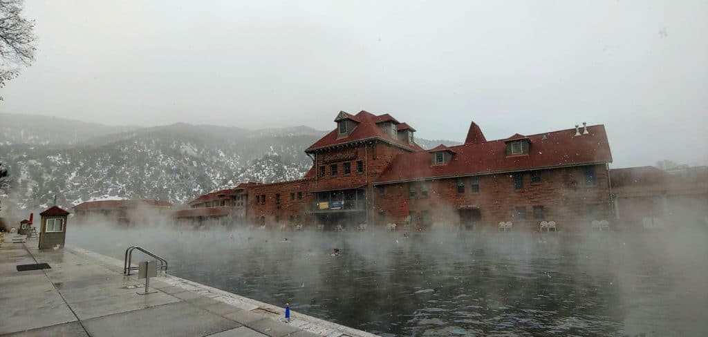 Steam rising from the pool in Glenwood Springs in the winter