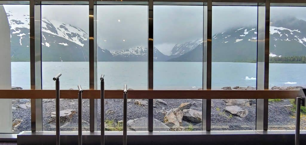 Portage Glacier through the window of the visitor center