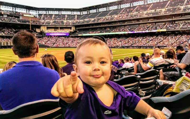Baby at a Colorado Rockies Game at Coors Field in Denver