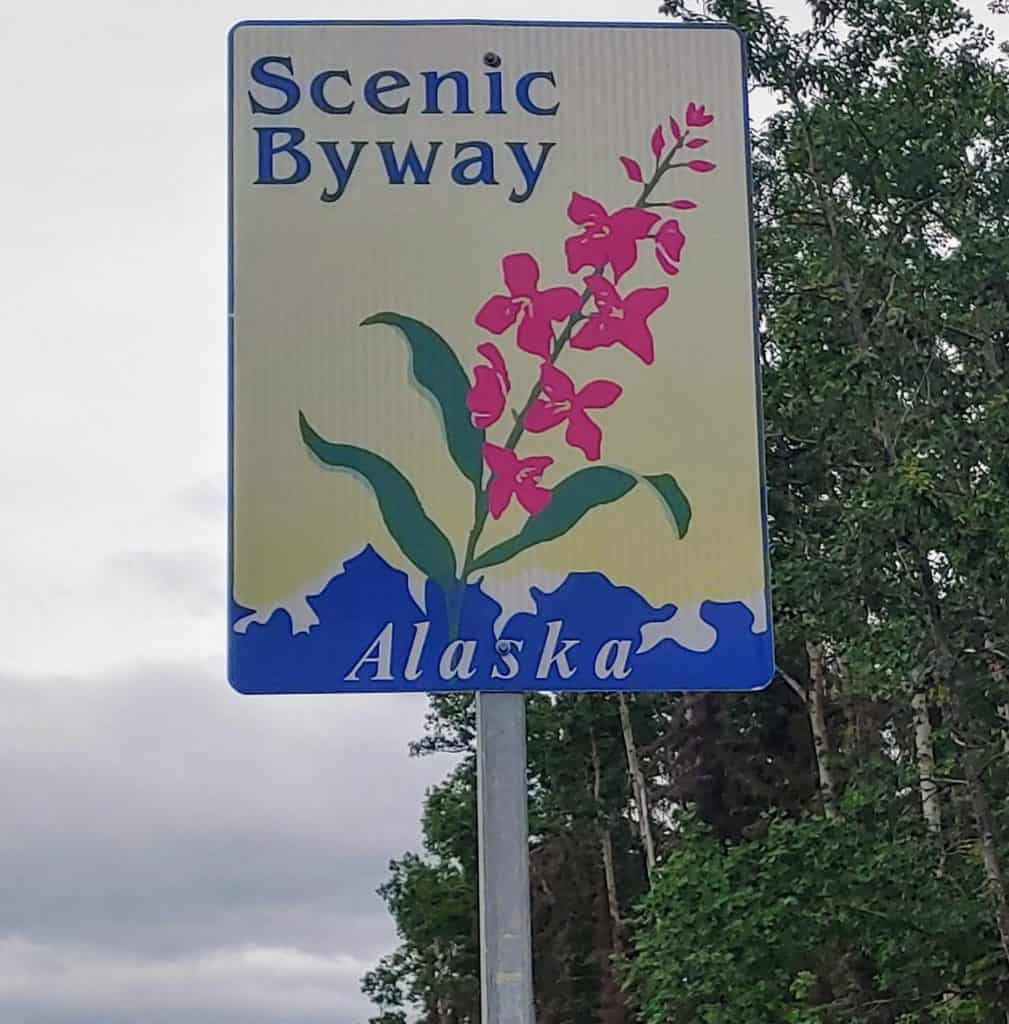 Alaska Scenic Byway sign along the parks highway on an Alaska road trip