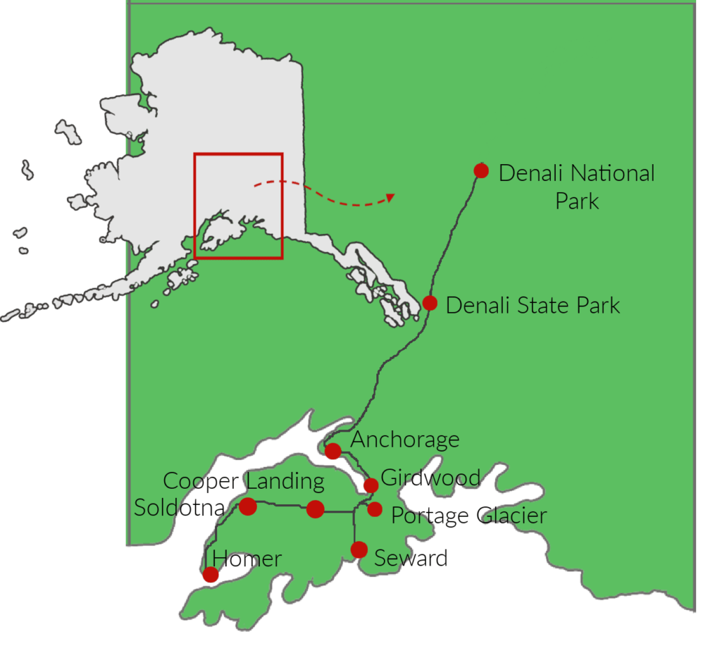 Map of Alaska road trip route that includes Denali, Anchorage, Homer, and Seward