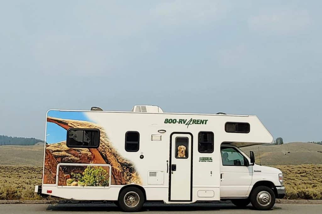 Rental RV with a picture on the side