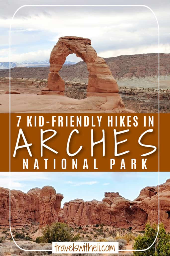 two different views of arches in Arches National Park - 7 Kid-Friendly Hikes In Arches National Park