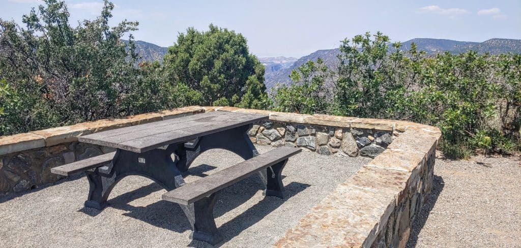 Picnic table overlooking Black Canyon of the Gunnison National Park in Colorado